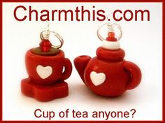 Polymer Clay Red Teapot and Tea Cup Charms by CharmthisClayCharms, $6.00