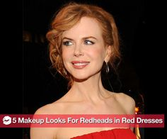 A glamorous look for a beautiful customer who is a red-head wearing a red dress to a special event. Heavy liner, peach cheeks and a peachy lips are lovely!