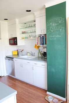 Green chalk board in kitchen