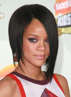 Rihanna medium length straight hair, the asymmetrical style is awesome. black hairstyles, layered hairstyles, long hairstyles, bob hair styles, bob hairstyles, human hair wigs, thick hair, medium hairstyles, modern hairstyles