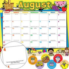 Monthly Calendar Pages And Stickers 2014-2015 Primary