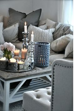Gray, cream, cozy, glam
