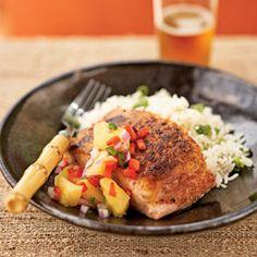 Pan-Seared Salmon with Pineapple-Jalapeno Relish | MyRecipes.com
