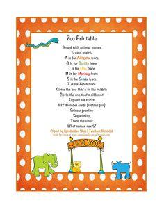 zoo preschool, anim, educ idea, preschool room, preschool printables, zoo printabl, zoos, preschools, preschool zoo
