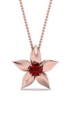 Red Ruby Fancy In 14k Rose Gold