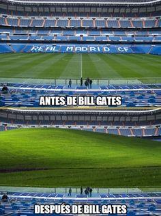 Cambios en el estadio Santiago Bernabéu después del patrocinio de Bill Gates y Microsoft.