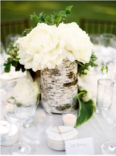 Would make a lovely snow-themed holiday centerpiece as well (White blooms by Beth Helmstetter)