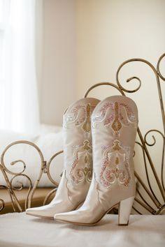 Real Weddings: Ashlei & Steven in Plant City, FL | Miranda Lambert wedding boots, bridal bunkhouse, heirloom bench seat