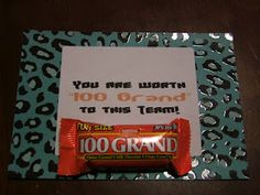 """Your worth """"100 Grand"""" to this Team with 100 Grand Mini Candy bars"""