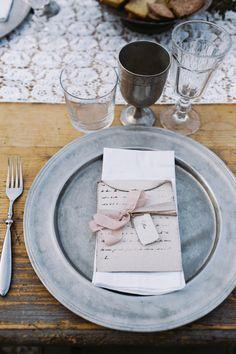 zinc place setting, photo by Cinzia Bruschini http://ruffledblog.com/intimate-italian-wedding-with-rustic-details #placesetting #weddingideas