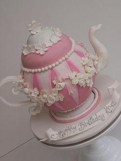 Teapot Cake - Love the flowers