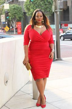TrendyCurvy killed it in the Ambrosia Dress in Red!