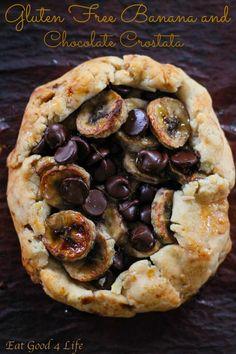 Gluten free banana and dark chocolate crostata