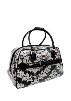 """Isabella Fiore's Ivory Vintage Lace Isabella 20"""" Carry-On w/ Bow Accent"""