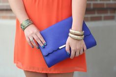 Metal Framed Scalloped Flap Clutch OASAP.com