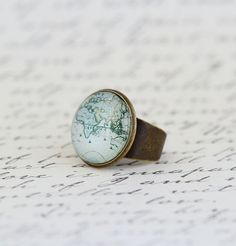 Cocktail Ring Map Ring Gift For Traveller by JacarandaDesigns