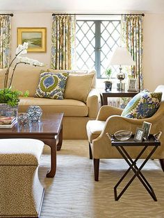 Pop of blue in the neutral living room