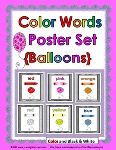 Color Words Poster Set - Balloon Theme