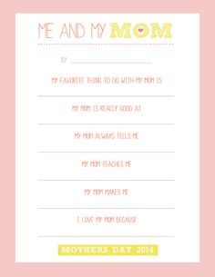 Me and My Mom Free Printable for Mothers' Day