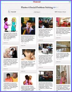 pin board of photos/scenarios for working on social problem solving