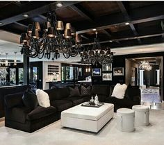 Cute black and white living room