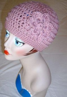 Handmade Adult Crochet Hat with Flower in Dusty Rose Color 25 more Colors to Choose From $20