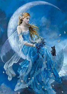 angel, kitten, fantasi, fairies, la luna, black cats, art, blue moon, blues