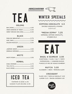 Menu design typography