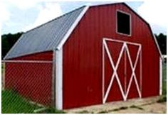 This little metal barn is a do-it-yourself building kit from AbsoluteRV.com