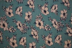 Antique Blue with White Flowers Feed Sack Fabric