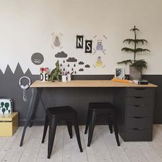 kids desk and two to