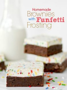 These HOMEMADE, ONE BOWL, fudgy brownies are perfect alone.  But topped with Funfetti Frosting?  AMAZING!!