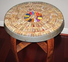 Wine Barrel Stave Table with Cork Kit Top