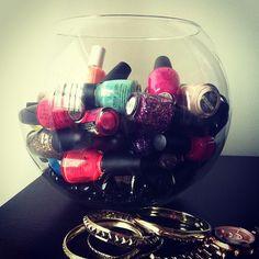 Big glass vase for nail polish storage (and display)!
