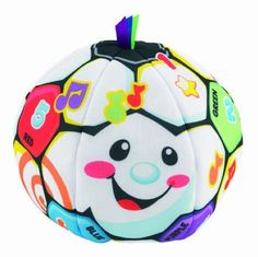 http://www.toys-zone.com/fisher-price-laugh-and-learn-singin-soccer-ball/ Fisher-Price Laugh and Learn Singin Soccer Ball. The music and fun sounds can be activated when the soft soccer ball is shaked or rolled.