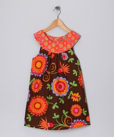 Orange & Brown Floral Yoke Dress - Toddler & Girls