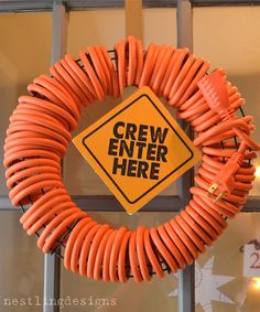 Construction wreath (Nestlingdesigns.blogspot.com): Fun and easy idea for a wreath to decorate a little boy birthday party! Think themes such as construction, trucks, transportation, tools, and more.