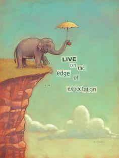 Edge of Expectation. by Jason Kotecki #elephant #daring #bravery #courage #art #painting