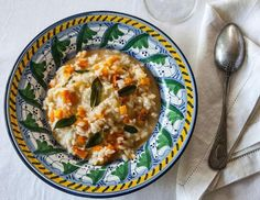 Butternut squash risotto with crispy sage!