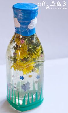 Flower Sensory Bottle (love that it is taped shut!)