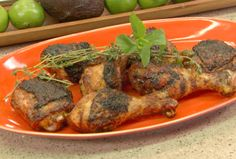 Grilled Jerk Rubbed Chicken with Habanero-Mint Glaze Recipe : Bobby Flay : Food Network - FoodNetwork.com