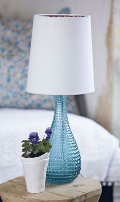 stockholm table light - such pretty blue glass!
