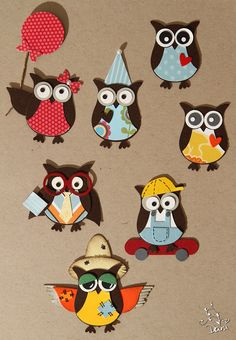 Punch art - owls. Stampin up owl builder punch.