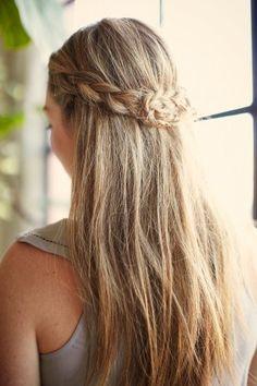 Half up braided tutorial.