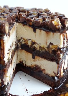 Snickers Peanut Butter Brownie Ice Cream Cake - Life Love and Sugar