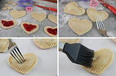 Mini Heart Pies! (tutorial)  #hearts #mini #pies #recipe    http://thecakebar.tumblr.com/post/12997487542/mini-heart-pies-tutorial#