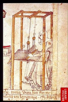 Egerton Genesis Picture Book  3rd quarter of the 14th century    Detail of Naamah at her loom, in a miniature in the upper register, right side.