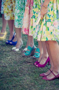 fun bridesmaids outfits for a morning or afternoon garden wedding