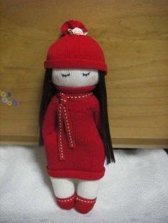 Girl in red - sock doll