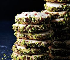 Low-Cal Desserts Fancy Enough for Guests: Cherry Pistachio Slice-and-Bake Cookies. #SelfMagazine